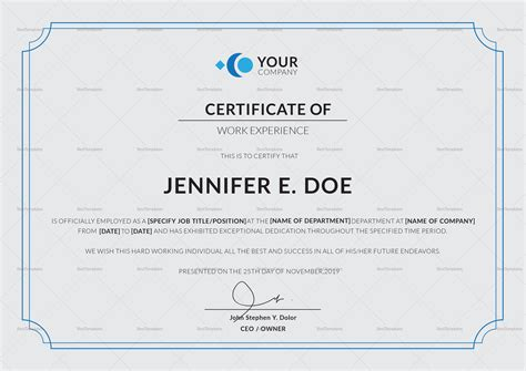 Experience Certificate Letter Sample Word Format Work Experience Certificate Template Microsoft Word