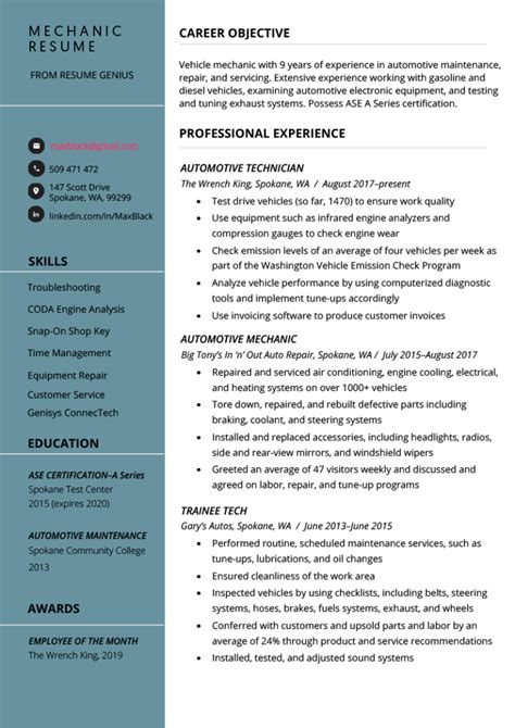 experience letter motor mechanic automotive mechanic resume sample - Sample Resume Automotive Technician