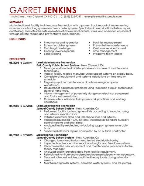 sample hotel maintenance resume
