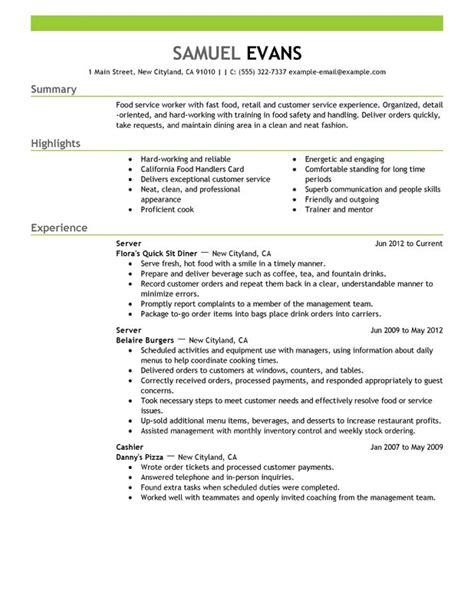 How To Make Resume For Restaurant Job | Writing Your Resume How To Make Resume For Restaurant Job Fast Food Server Resume Sample Myperfectresume