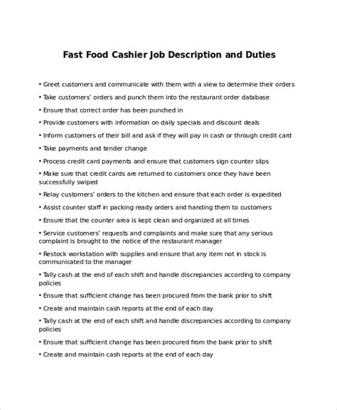 resume job description for fast food fast food worker job description duties and requirements - Fast Food Job Description For Resume