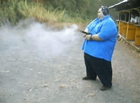 Desert-Eagle Fat Guy Shooting Desert Eagle.