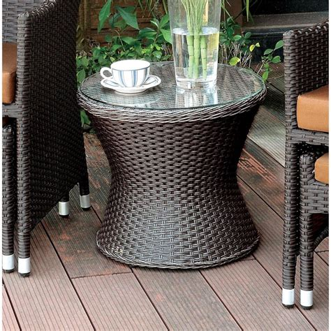 Fawnia Outdoor Wicker End Tabl by