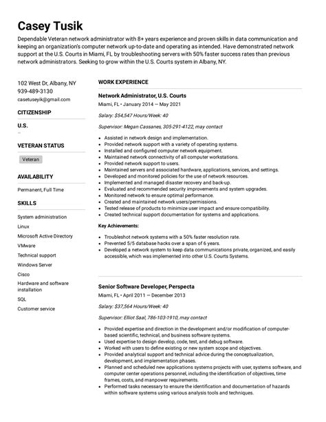 federal government resume builder federal resume guide national archives