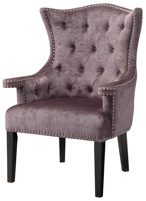 Fifth Avenue Eggplant Velvet Wingback Chair with Nailhead Trim