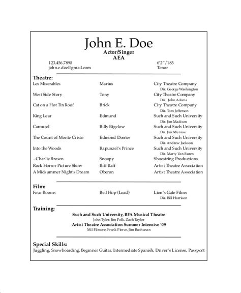 film actor resume format your actor resume format your resume even with no actor resume - Talent Resume Format