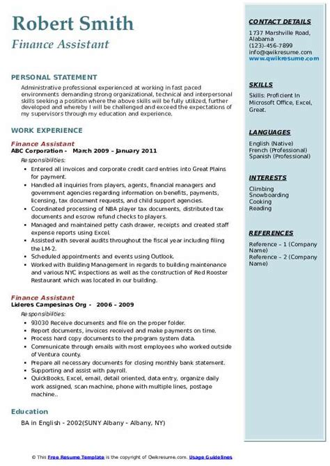 financial assistant resumes