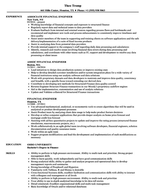 financial engineer resume engineer resume free cv samples - Financial Engineer Sample Resume