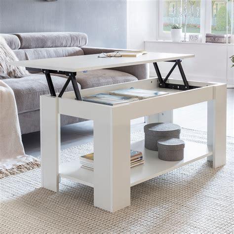 Finebuy Couchtisch Leya Weiß Holz 100 X 50 X 50 Cm Höhenverstellbar Stauraum Ablage Moderner Design Funktionstisch Wohnzimmer Tisch Funktions