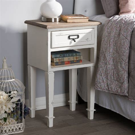 Fleurance Wood 2 Drawer Nightstand