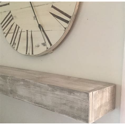 Floating Shelf in Shabby White Solid Wood Handmade Rustic Style Shelf