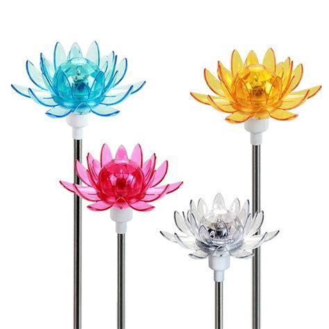 Floral Shimmering Solar Garden Stake (Set of 4)