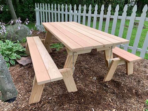 Folding Wooden Bench Table