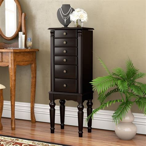 Fontanes Black Petite Ebony Jewelry Armoire with Mirror