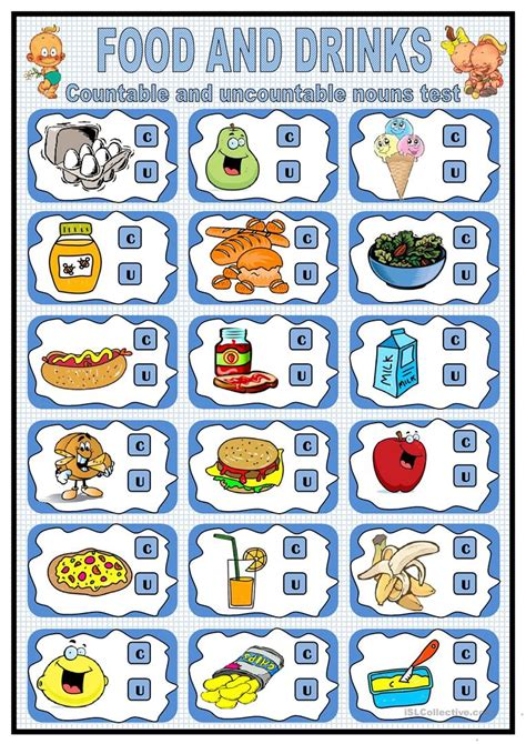 food and drink countable and uncountable nouns exercises