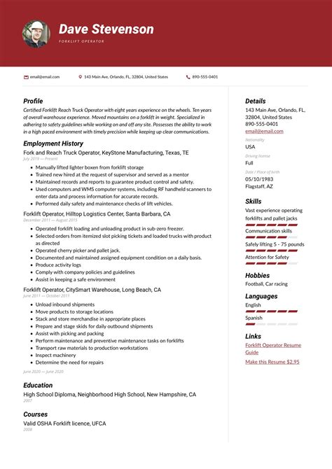 forklift driver resume forklift operator resume sample - Forklift Resume Sample
