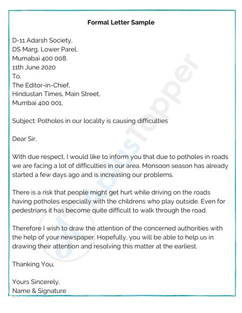 Formal Letter Format Dear Letter Format Formal Writing Sample Template And Example