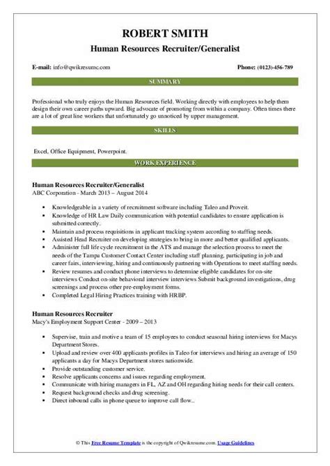 Format Of Hr Recruiter Resume Example Character Reference Letter - Human resource recruiters resume