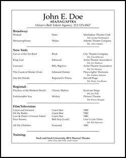 resume intro samples free acting resume samples ace your audition