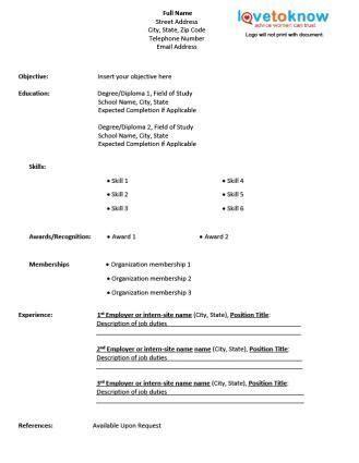Blank Resume Template For High School Students   http   www resumecareer