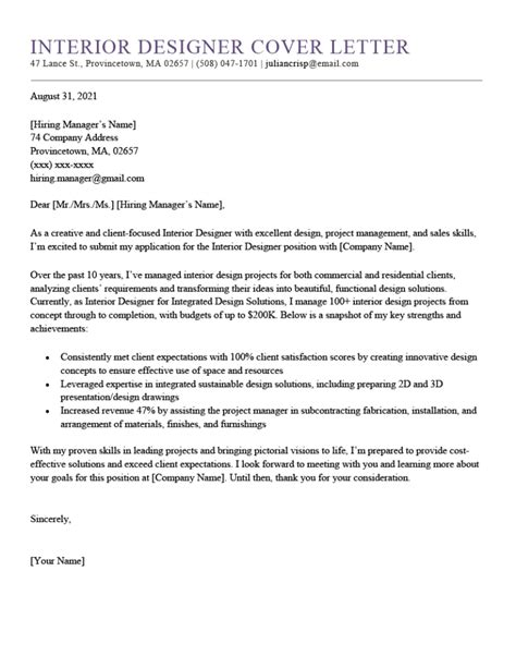 Cover Letter To Interior Designer | Sample Resume For Accounts ...