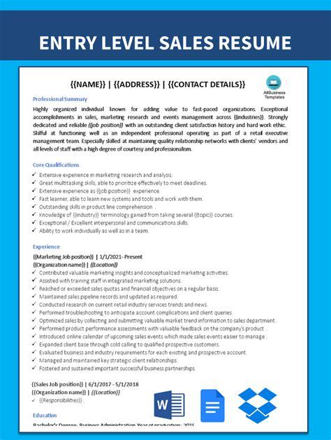 free entry level resume sample entry level sales resume sample - Entry Level Sales Resume Sample