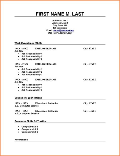 free fill in resume free blank resume template professional resume example - Free Fill In The Blank Resume Templates