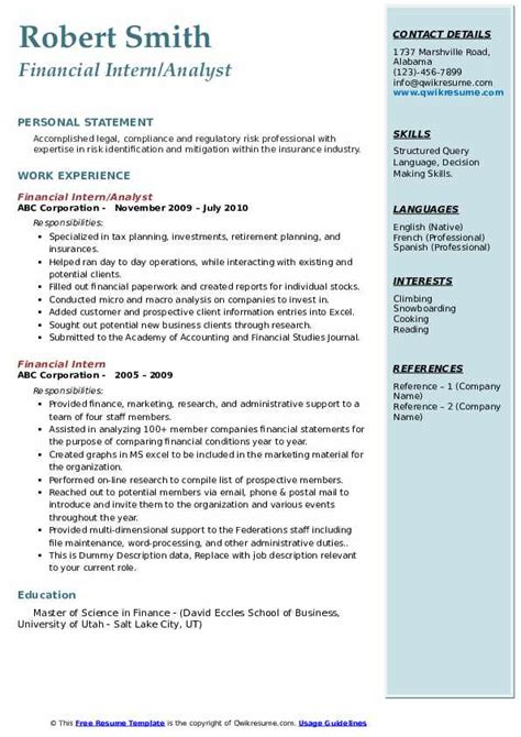 sample resume for finance intern free financial intern resume example