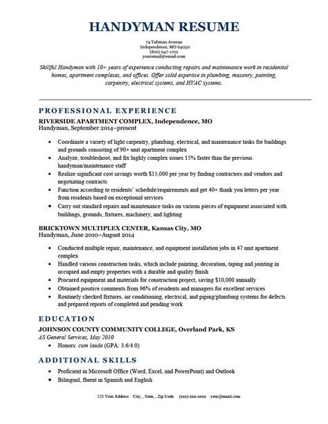 Free Handyman Resume Templates Free Resume Templates Samples Blank Printable Online