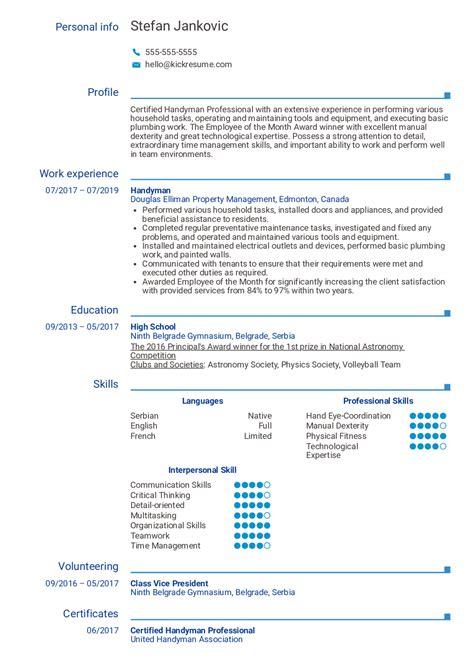 Free Handyman Resume Templates Resume Templates Canva