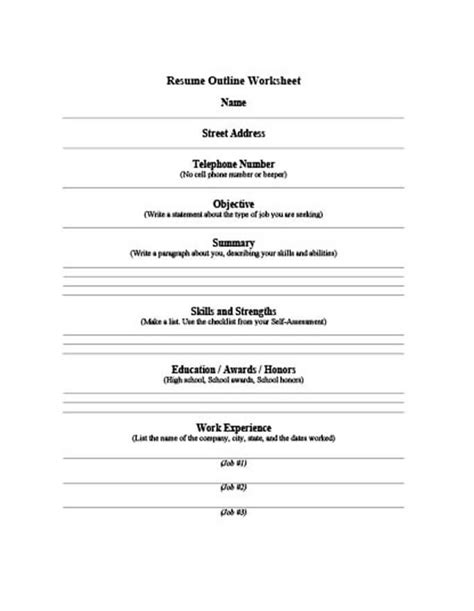 Worksheets Resume Outline Worksheet free job resume outline templates for microsoft word xp worksheet connecticut department