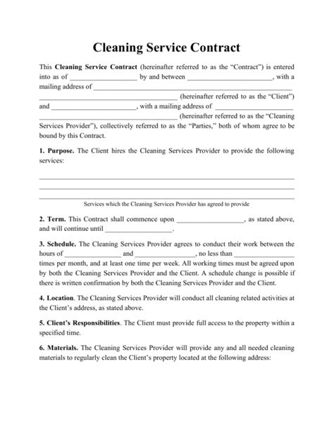 office cleaning contract sample