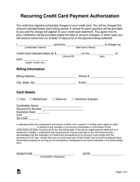 Credit Card Authorization Form Pdf Fillable Free Recurring Credit Card Authorization Form Pdf Word
