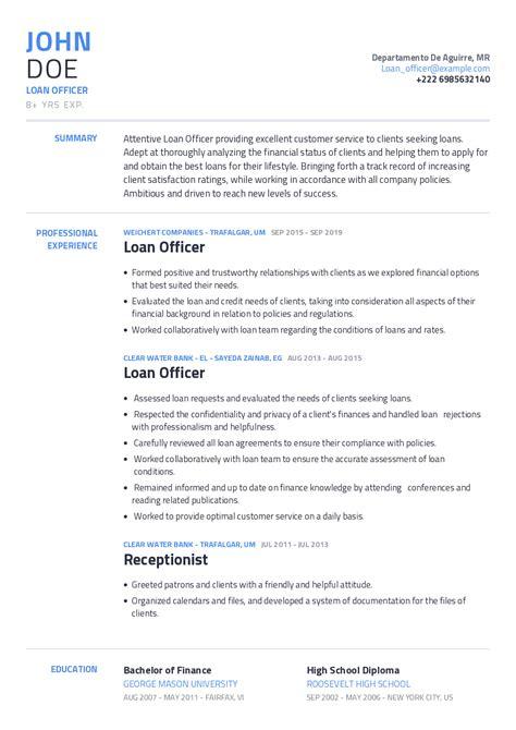 free resume sample mortgage loan officer curriculum vitae
