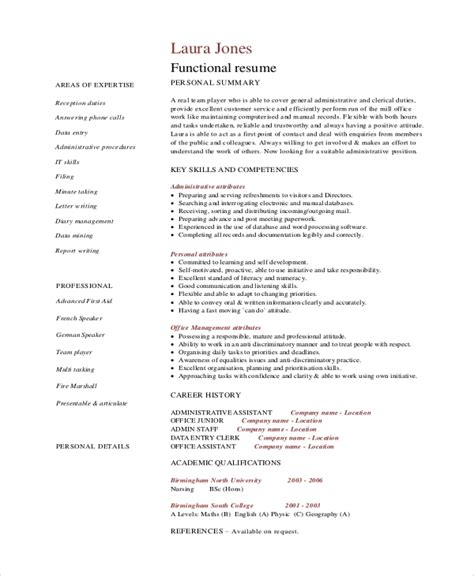 free sample functional resume for administrative assistant administrative functional resume sample odlc uoft