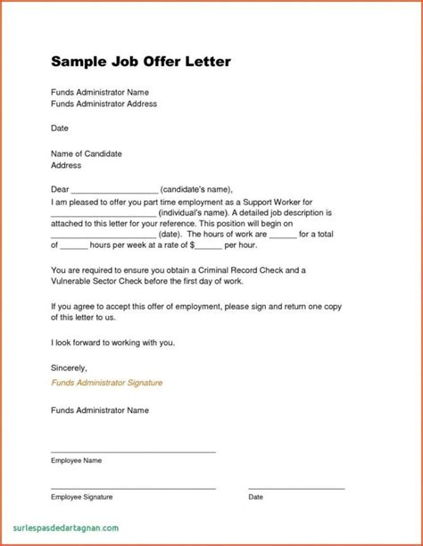 job offer letter contract free sample job offer letters free sample letter templates
