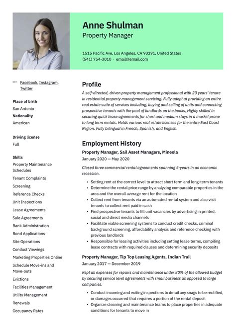 free sample resume assistant property manager property manager resume example sample template job - Sample Property Manager Resume