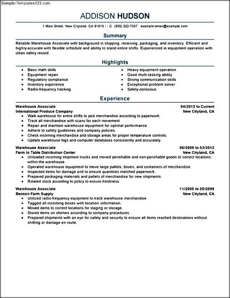 resume templates for warehouse worker