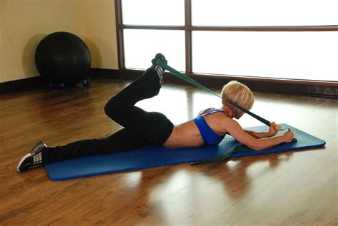 front hip flexor exercises with resistance tube