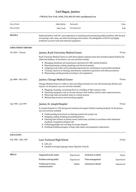 functional janitor resume sample janitorial resume janitor janitors cleaning