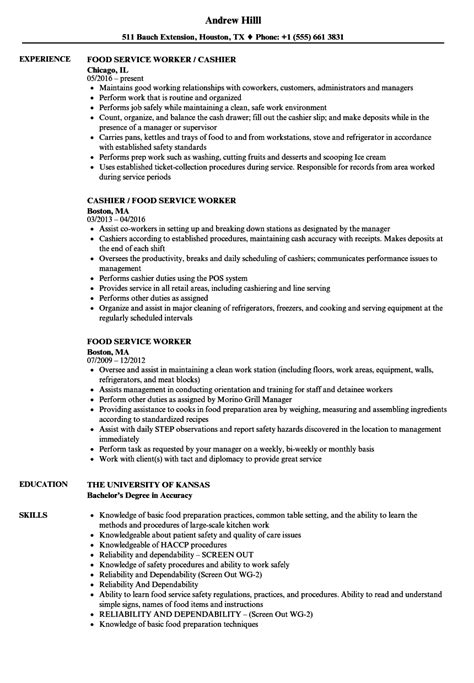 sample resume food service industry sample customer service resume food service worker resume example cover letters - Food Service Resume