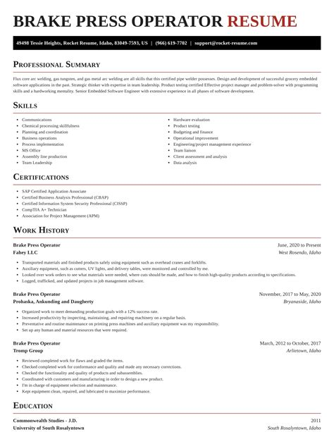 Functional Resume Examples For Heavy Equipment Operator Press Brake Operator Resume Samples Jobhero