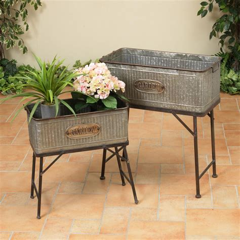 Galvanized Metal Plant Table (Set of 2)