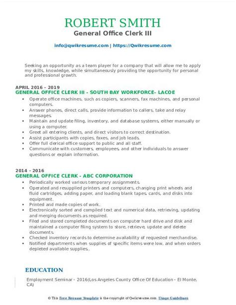 General Clerical Resume Objective Writing Style Tips Best Sample
