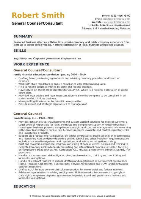 General Consultant Resume General Counsel Resume Samples Jobhero