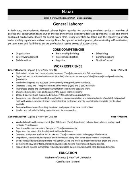 general laborer resume sample general contractor resume sample general labourer resume examples - Contractor Resume Sample