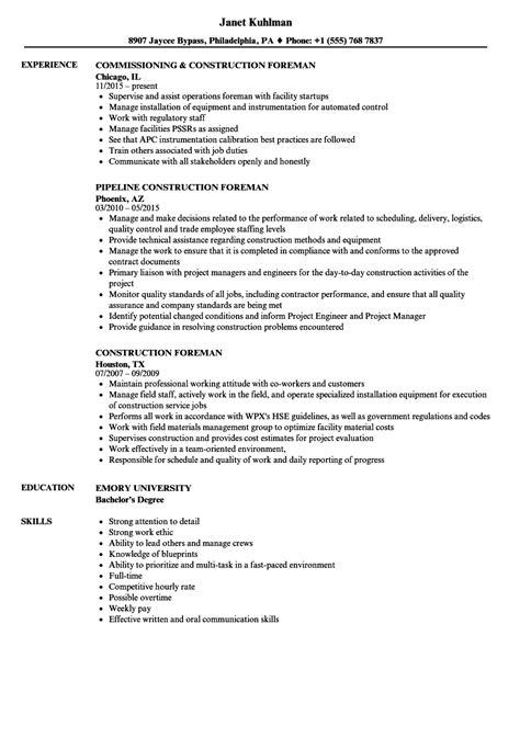 general machinist resume sample construction foreman resume sample one - Sample Machinist Resume