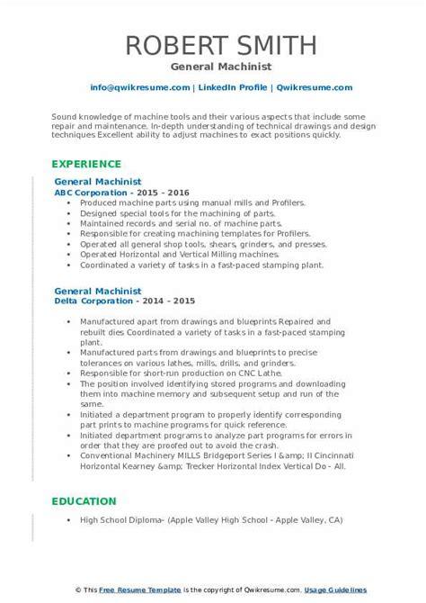 general machinist resume sample machinist resume sample - Sample Machinist Resume