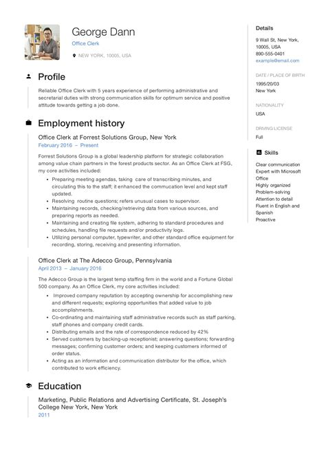 Office Clerk Resume Objective | Sample Cv With Photo