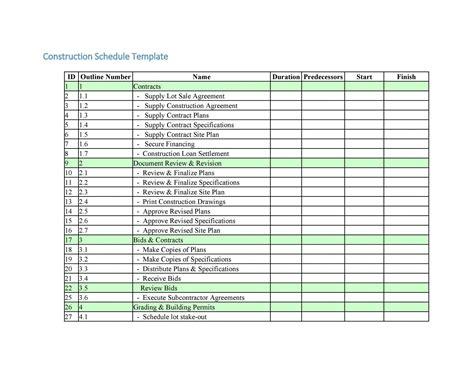 Generic Work Schedule Template – Construction Schedule Template